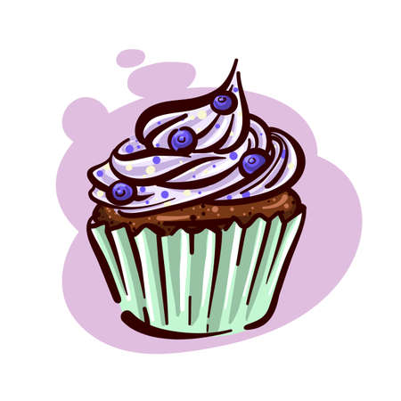 Cupcake With Berries. Vector for bakery.