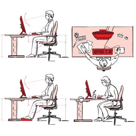Ergonomic of computer workplace Vectores