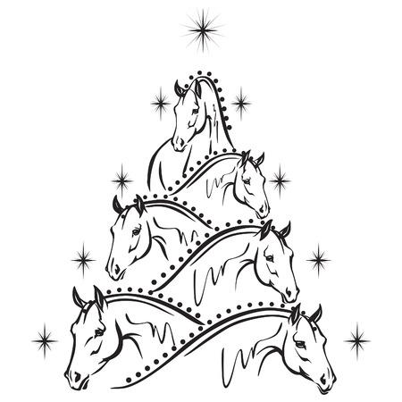 schwarz: Pferdeliebhaber Weihnachtsbaum - Sportpferde Illustration