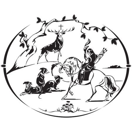 St-Hubert, de patroonheilige van de jager Stock Illustratie