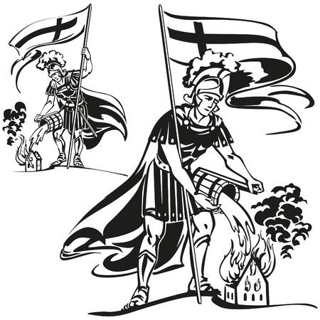 st: St. Florian,  the parton saint of firefighters. Illustration
