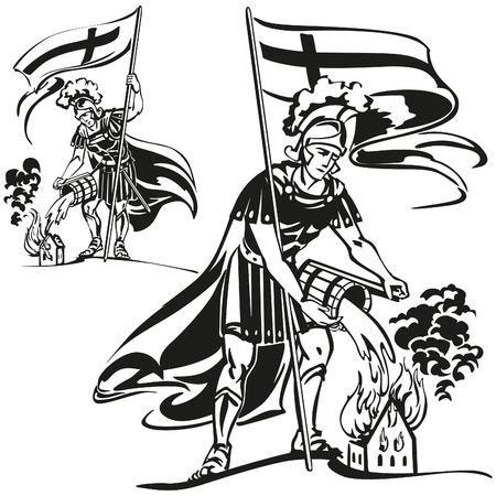 St. Florian,  the parton saint of firefighters. Stock Illustratie