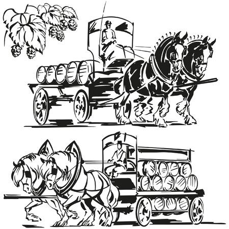 dessin noir et blanc: Deux wagons de bière et une branche de houblon Illustration