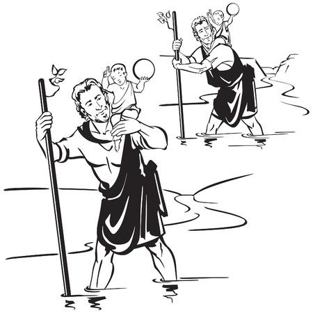 St. Christoffel, de patroonheilige van de reizigers. Stock Illustratie