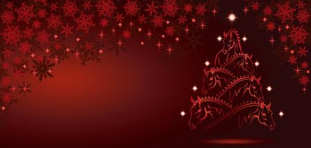 馬の愛好家のクリスマス ツリー - スポーツの馬 3  イラスト・ベクター素材