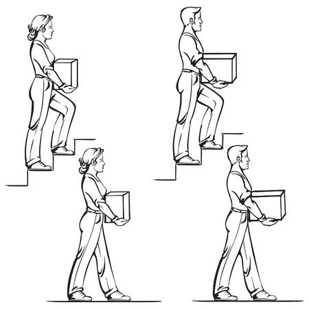 重いアイテムを安全に運ぶ: 男性と女性 2 のための規範  イラスト・ベクター素材