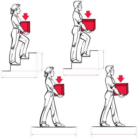 重いアイテムを安全に運ぶ: 男性と女性のための規範  イラスト・ベクター素材