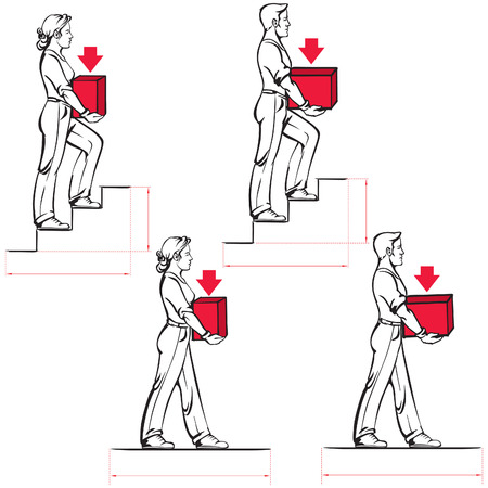 norms: Safe carrying of heavy items: norms for men and women Illustration