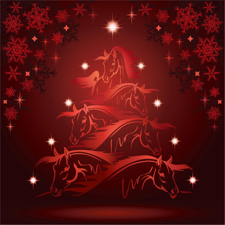 馬クリスマス ツリー: 頭の馬
