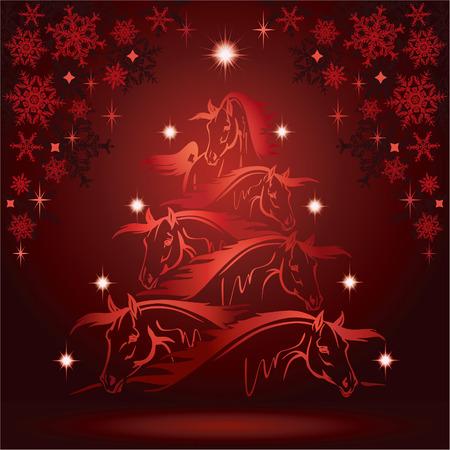 Paard kerstboom: paarden hoofden