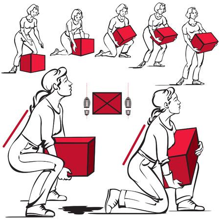 女性のための重い物の取り扱い  イラスト・ベクター素材