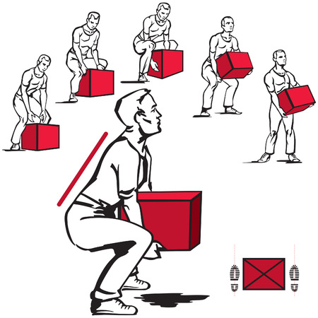 box weight: Handling of heavy items for men Illustration