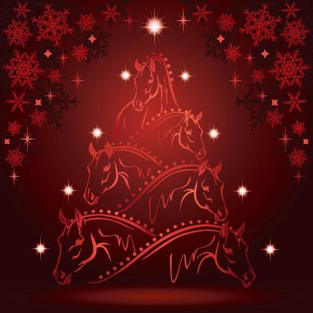 クリスマス ツリー スポーツの馬の頭  イラスト・ベクター素材