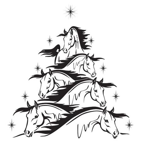 christmas tree of horses heads