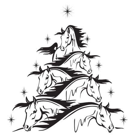 christmas tree of horses heads Vector