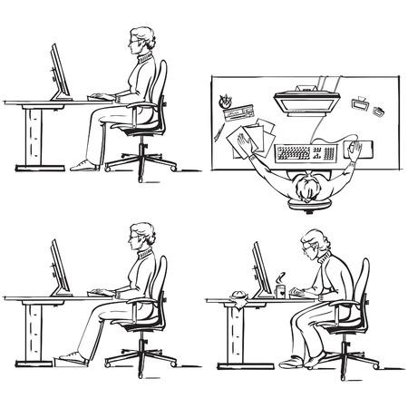Ergonomische computer werkplek Stock Illustratie