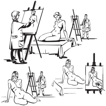 ヌードを描くアーティスト  イラスト・ベクター素材