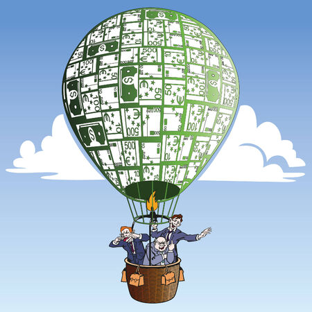 Bad Bankers in hot balloon Illustration