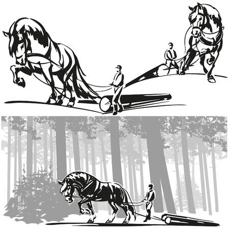 馬の林業  イラスト・ベクター素材