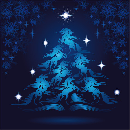 馬愛好家クリスマス ツリー 2  イラスト・ベクター素材