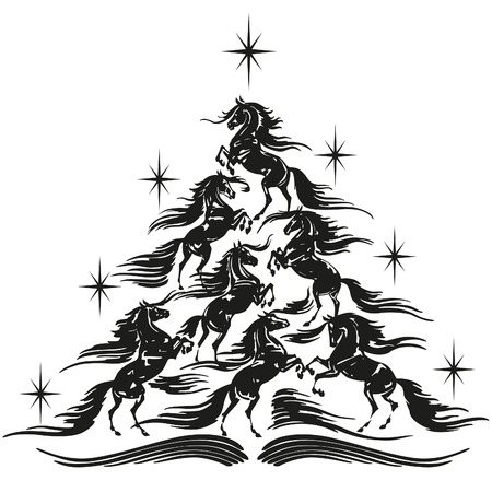 Horse lovers christmas tree  1 Illustration