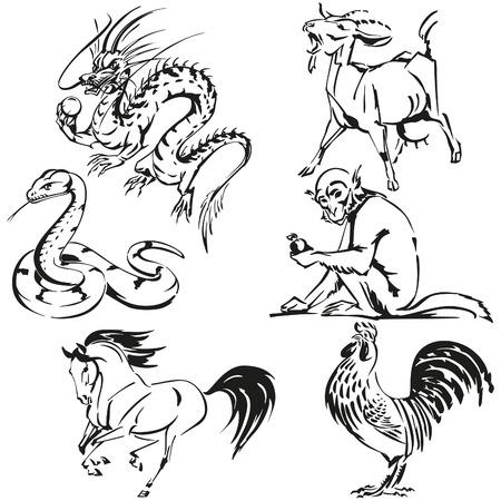 Aziatische zodiac Stock Illustratie
