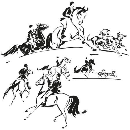 2 つの狩猟パーティのテーマ  イラスト・ベクター素材