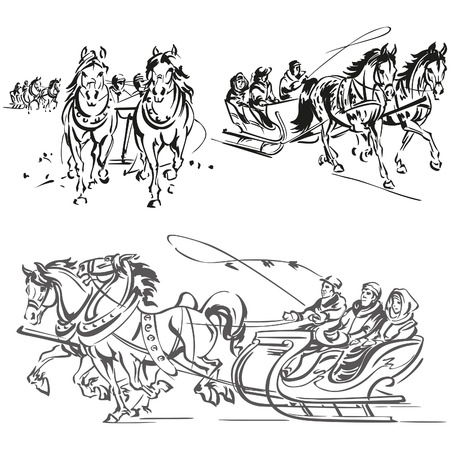 Horse-drawn sleigh ride  Illustration