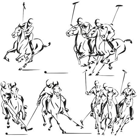 caballo jinete: Jugadores de polo