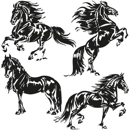 Friese paarden Stock Illustratie