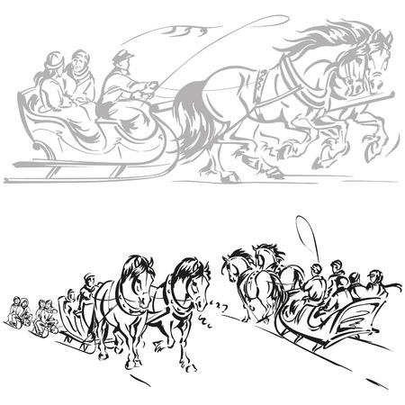Horse-drawn sleigh ride Vector