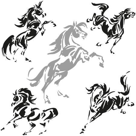 Rearing and prancing horses