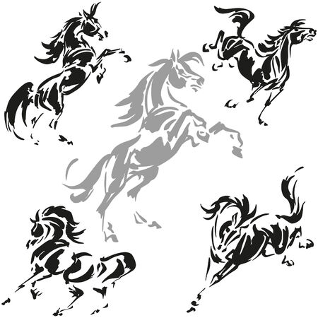 rearing: Rearing and prancing horses