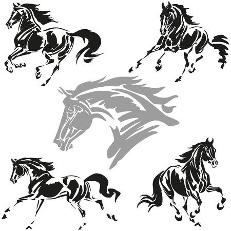 dessin noir et blanc: Vector illustrations basées sur des études de brosse tirée de chevaux au galop. Illustration