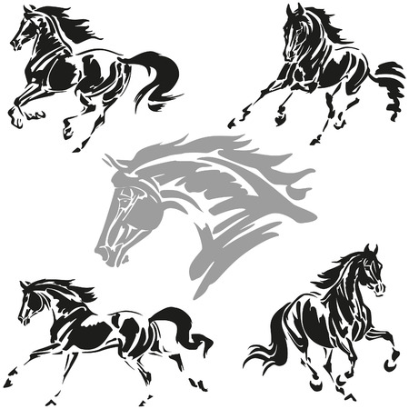 black: Vector illustrations based on brush-drawn studies of galloping horses.