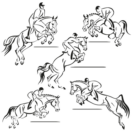 riding: Simplified silhouettes of jumping riders