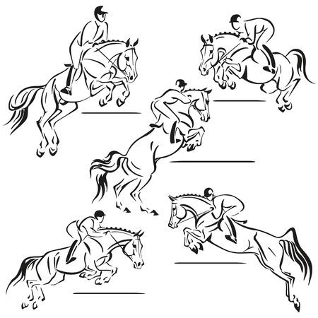 Vereenvoudigde silhouetten van springen rijders Stockfoto - 42834357