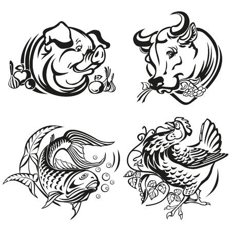 Menu vignettes for meat plates