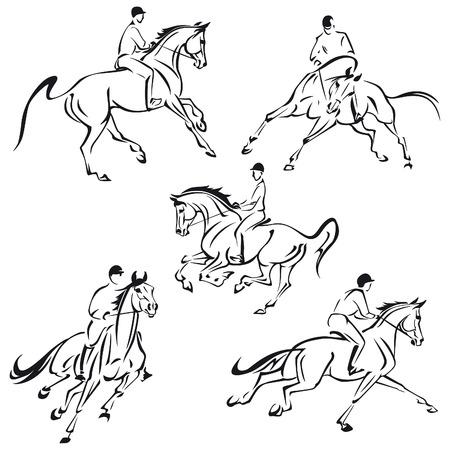 Vereenvoudigde tekeningen van galopperende ruiters.