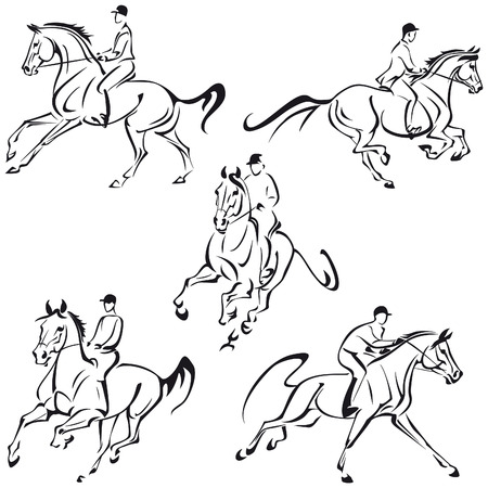 Simplified drawings of galloping riders Illustration