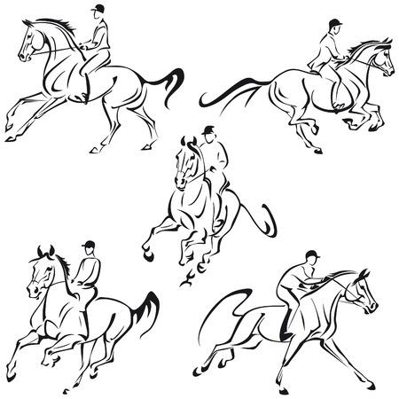 Vereenvoudigde tekeningen van galopperende ruiters Stock Illustratie