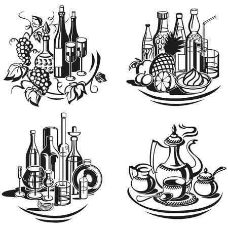 冷たい飲み物、温かい飲み物、スピリッツの装飾的なビネット メニュー。