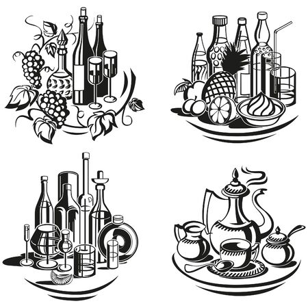 Decoratieve vignetten menu voor koude dranken, warme dranken en gedistilleerde dranken.