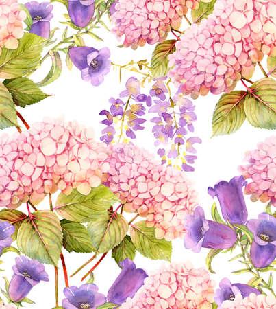 bluebell: Hydrangea, wisteria,bluebell watercolor seamless pattern