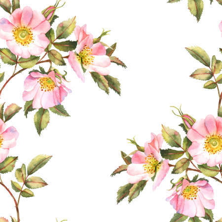 rose bush: Rose bush watercolor seamless pattern Stock Photo