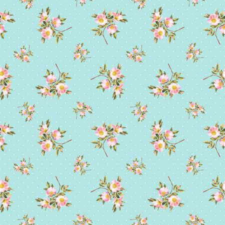 rose bush: Rose bush polka dots watercolor seamless pattern Stock Photo