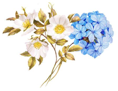 petal: Blue white jasmine, hydrangea, rose flowers wedding watercolor bouquet
