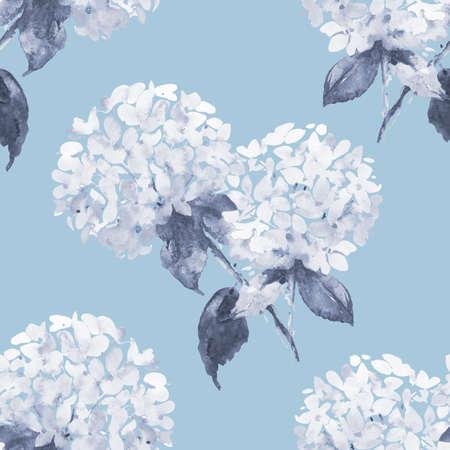 petal: Hydrangeas watercolor illustration seamless pattern in blue Stock Photo