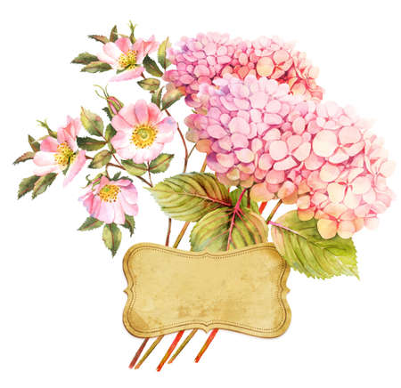 rose bush: Pink hydrangeas and rose bush in blossom watercolor bouquet with greeting card