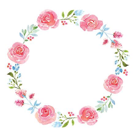 elegant white: Beautiful flower watercolor wreath